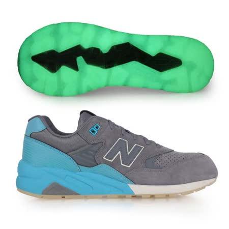 (男) NEWBALANCE 580系列 復古休閒鞋- NB 夜光 N字鞋 反光 淺灰水藍