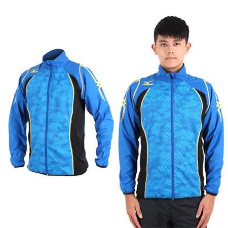 (男) MIZUNO 平織運動外套- 慢跑 路跑 防撥水 美津濃 立領 藍芥末黃