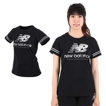 (女) NEWBALANCE NEW BALANCE短袖T恤-短袖上衣 短T 路跑 慢跑 訓練 健身 NB 黑白銀