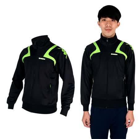 (男) KAPPA 針織外套-立領 休閒外套 黑綠白