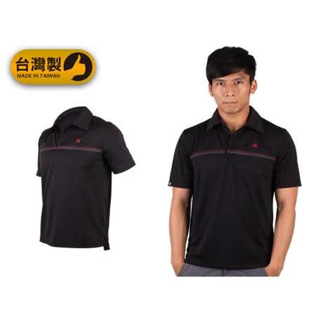(男) FIRESTAR 短袖吸排POLO衫-立領 休閒T恤 高爾夫 台灣製 黑紅