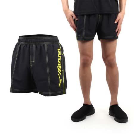 (男) MIZUNO SWIM 海灘褲 - 游泳 海灘 休閒 黑黃