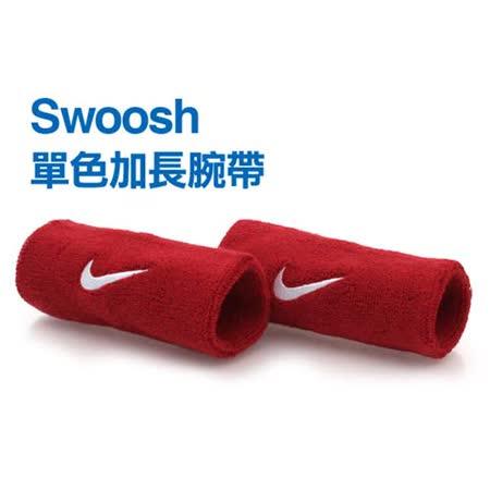 NIKE SWOOSH 加長型 運動腕帶-籃球 網球 排羽球 一雙入 紅白 F