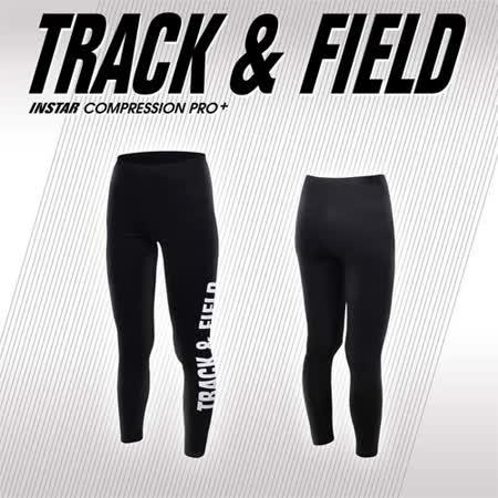 (女) INSTAR TRACK&FIELD 緊身長褲-慢跑 田徑 瑜珈 台灣製 黑白 S