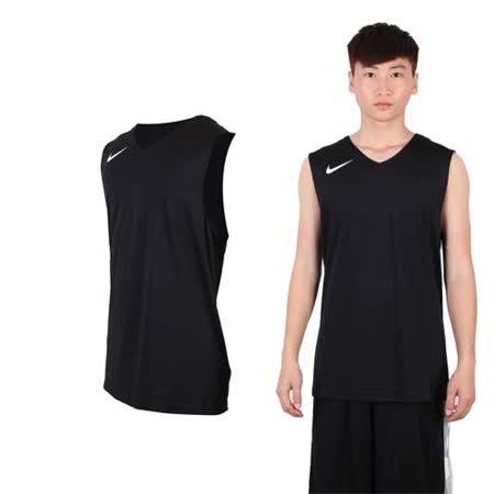 (男) NIKE 運動背心-針織 籃球背心 慢跑 路跑 黑白