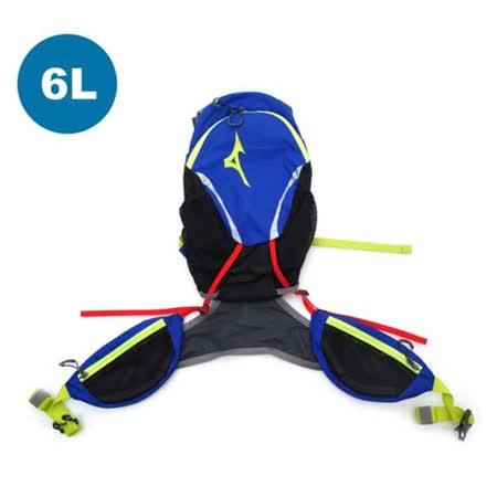 MIZUNO 6L運動後背包-登山 旅行 單車 自行車 雙肩包 藍芥末綠 F