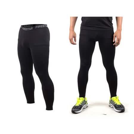 (男) FIRESTAR 機能緊身長褲-慢跑 路跑 與NIKE PRO同版型 黑