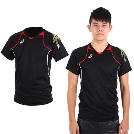 (男) ASICS 短袖排球練習T恤- 路跑 慢跑 亞瑟士 黑紅金