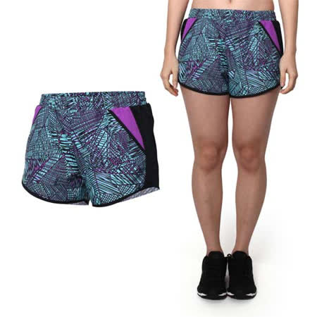 (女) UNDER ARMOUR UA HG FF 1.0花色慢跑短褲 格紋紫淺藍