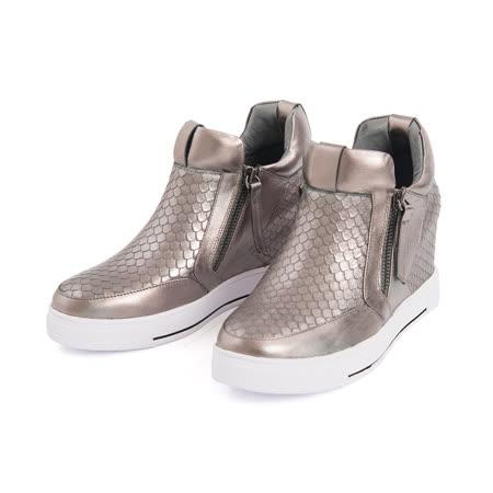 TAS金屬色壓紋牛皮內增高休閒鞋-香檳灰