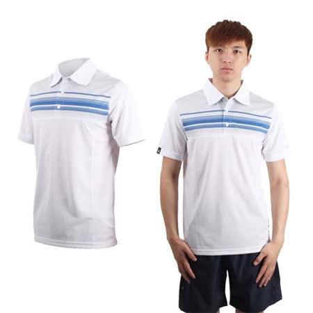 (男) FIRESTAR 短袖POLO衫-休閒T 短袖T恤 立領 台灣製 白藍