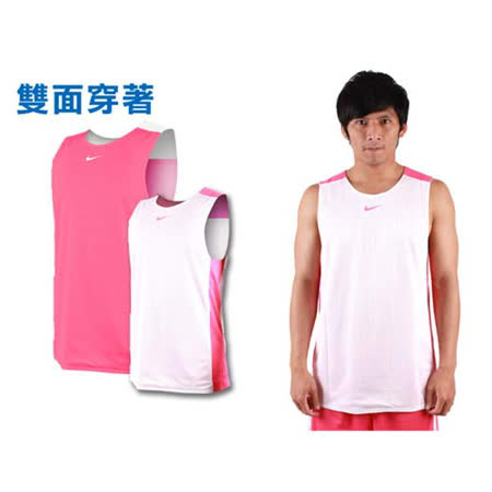 (男) NIKE 雙面穿 運動背心-針織 籃球 無袖上衣 粉白 XL