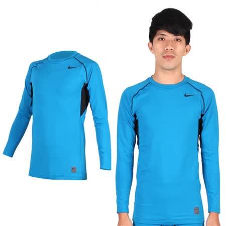 (男) NIKE PRO COMBO長袖緊身衣-保暖 健身 緊身T恤 湖水藍黑