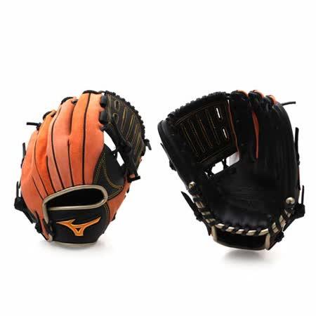 MIZUNO 少年用手套 - sogo 線上壘球手套 棒球 美津濃 黑橘 F