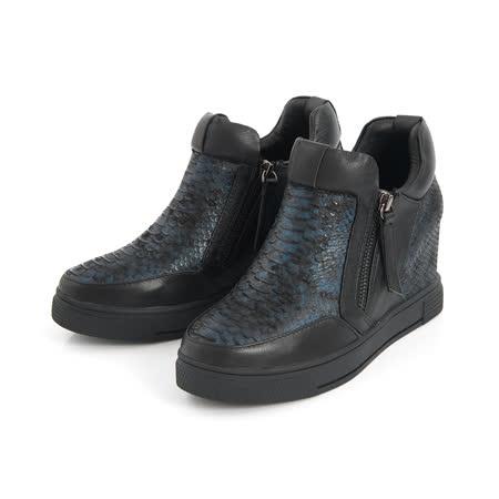TAS金屬色壓紋牛皮內增高休閒鞋-個性黑