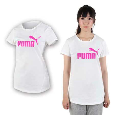 (女) PUMA LOGO短袖T恤-純棉 棉T 圓領 慢跑 路跑 白桃紅