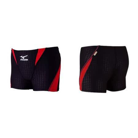 (男) MIZUNO SWIM 練習泳褲-游泳 海邊 平口泳褲 四角泳褲 黑紅