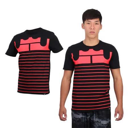 (男) NIKE 短袖針織衫-短T T恤 慢跑 路跑 LEBRON JAMES 黑玫紅 L