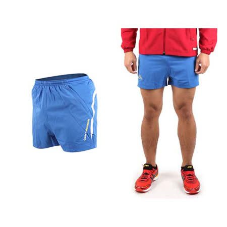 (男) KAPPA 運動短褲-慢跑 路跑 三分褲 休閒短褲 寶藍黃