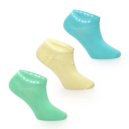 (女) MIZUNO 運動薄底踝襪-3雙入-美津濃 慢跑 路跑 襪子 淺藍黃 S