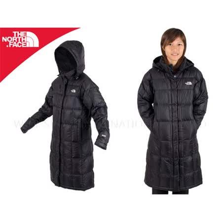 (女) THE NORTH FACE 600FILL 連帽羽絨長外套-長大衣 保暖 黑 S