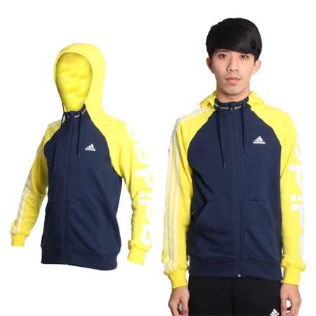(男) ADIDAS 運動外套- 愛迪達 連帽外套 丈青黃白