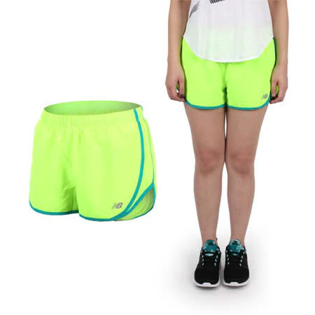 (女) NEWBALANCE NEW BALANCE梭織短褲-路跑 慢跑 休閒 NB 螢光綠