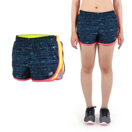 (女) NEWBALANCE DRY運動短褲-路跑 馬拉松 NB 深藍螢光黃