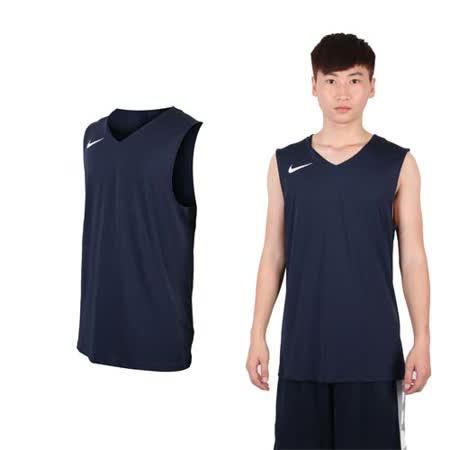 (男) NIKE 運動背心-針織 籃球背心 慢跑 路跑 丈青白