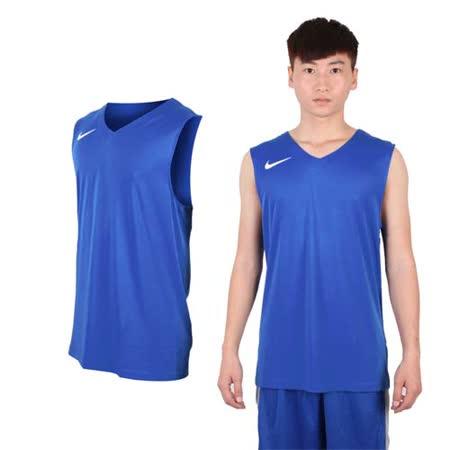 (男) NIKE 運動背心-針織 籃球背心 慢跑 路跑 寶藍白