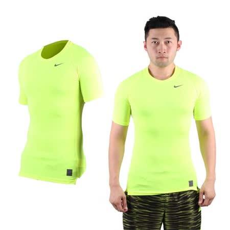 (男) NIKE PRO 短袖緊身衣-路跑 慢跑 健身 重訓 螢光黃黑