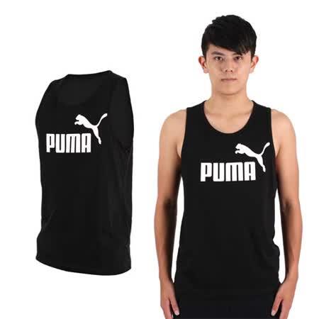 (男) PUMA LOGO休閒背心-路跑  健身 訓練 黑白 S