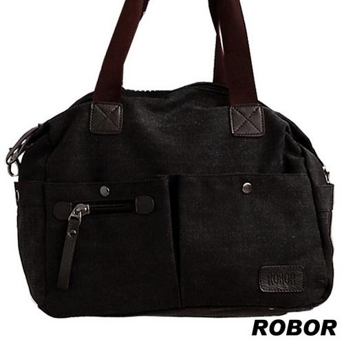 韓系型男 ROBOR法式 側背手提斜背三用包^(黑灰^)