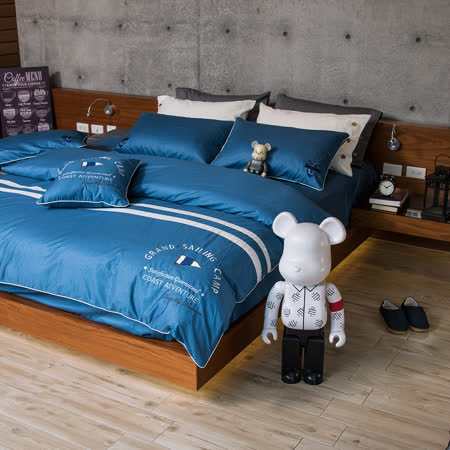 OLIVIA 《航行者 藍》 加大雙人床包被套四件組 品牌設計師原創系列