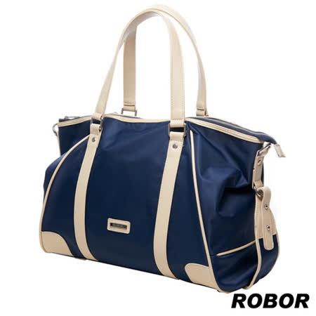 韓系型男 ROBOR貫穿時尚潮派休閒風大容量多功能托特包(皇家藍)