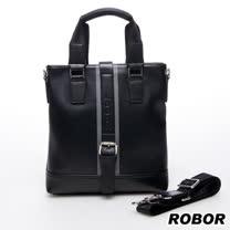 韓系型男 ROBOR暗黑大帝直式側背/手提/斜背三用包(黑色)