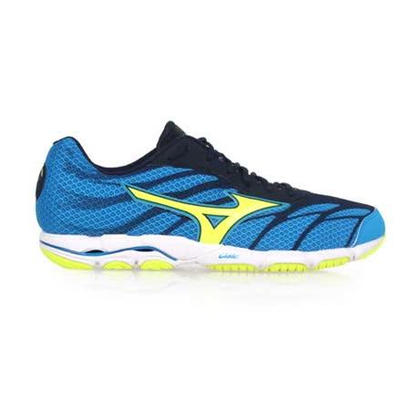 (男) MIZUNO WAVE HITOGAMI 3 路跑鞋- 慢跑 美津濃 藍螢光綠 27.5