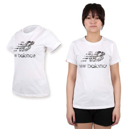 (女) NEWBALANCE NEW BALANCE印花短袖T恤-路跑 慢跑 休閒 NB 白灰黑