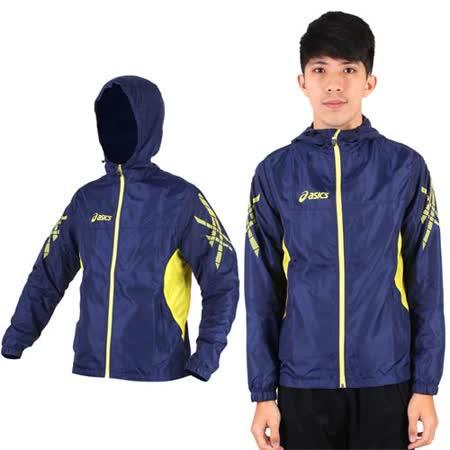 (男) ASICS 風衣外套- 連帽外套 路跑 慢跑 亞瑟士 深藍黃 S