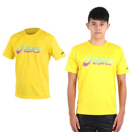 (男) ASICS 運動排汗短袖T恤- 慢跑 路跑 亞瑟士 黃藍紫