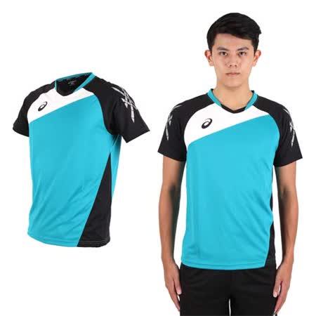 (男) ASICS 運動排汗短T恤 -慢跑 羽球 排球 湖水綠黑