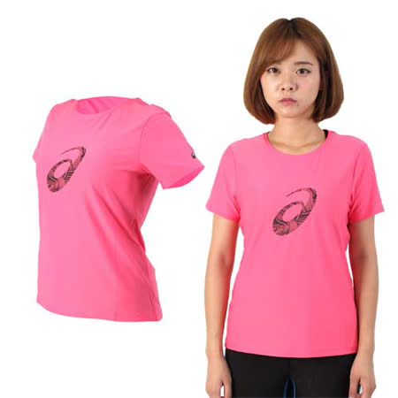(女) ASICS 短袖印花T恤 - 短T 路跑 慢跑 亞瑟士 粉紅黑