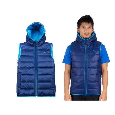 (男) PUMA 連帽鋪棉運動背心 寶藍水藍 L