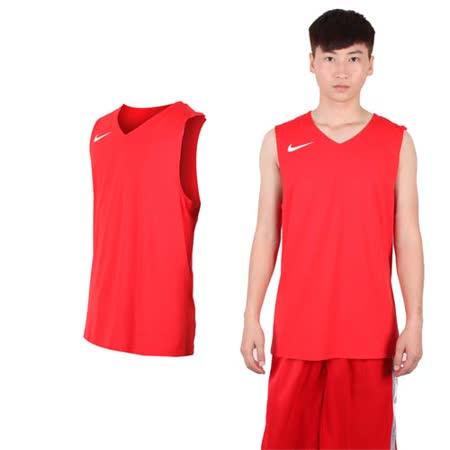 (男) NIKE 運動背心-針織 籃球背心 慢跑 路跑 紅白