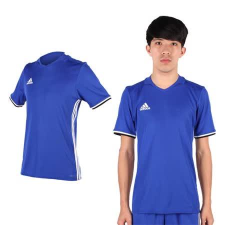 (男) ADIDAS 短袖T恤-短T運動 休閒 V領 愛迪達 藍白