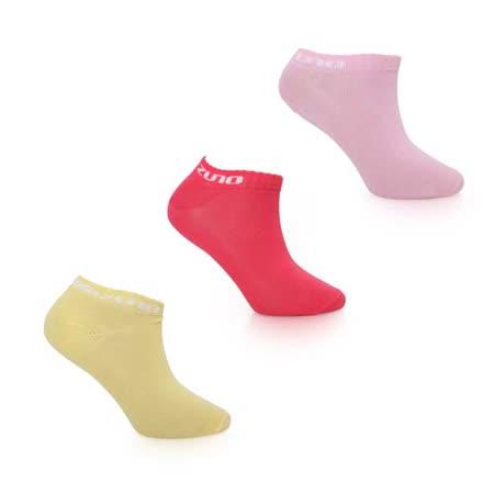 (女) MIZUNO 運動薄底踝襪-3雙入-美津濃 慢跑 路跑 襪子 粉紅黃 S