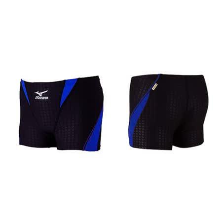 (男) MIZUNO SWIM 練習泳褲-游泳 海邊 平口泳褲 四角泳褲 黑藍