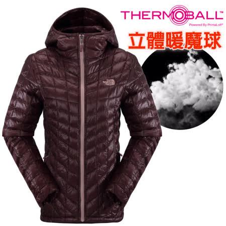【美國 The North Face】女新款 PrimaLoft ThermoBall 超輕量暖魔球保暖連帽外套(可機洗).兜帽夾克.大衣/媲美羽絨科技/CUD4 深石榴紅