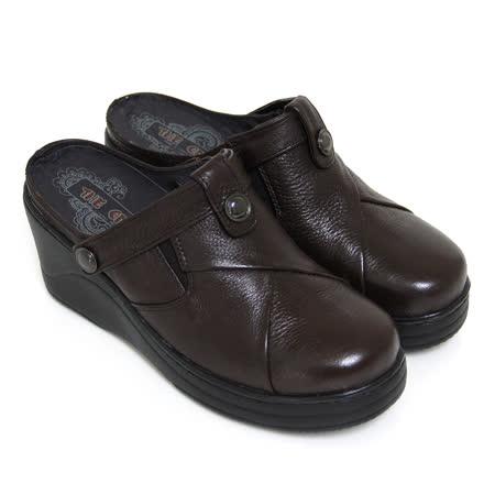 【GREEN PHOENIX】素面剪裁釘扣手縫兩穿式全真皮厚底前包後空拖鞋