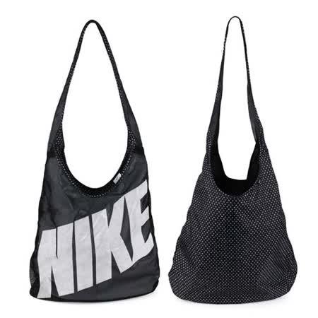 NIKE 圖案雙面托特包 -肩背包 手提包 黑灰 F